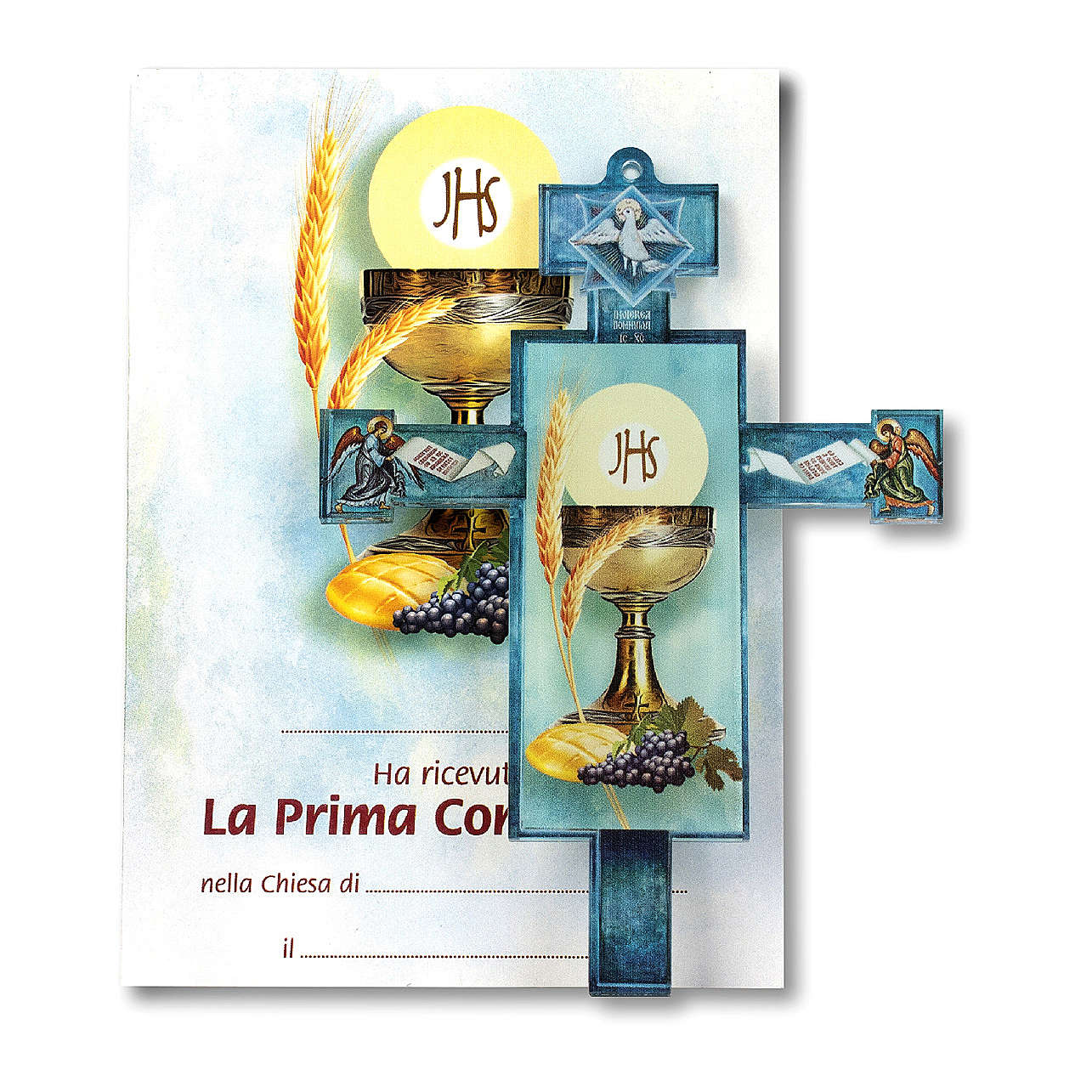 Croce Cresima tradizionale con diploma Simboli Eucaristici 3