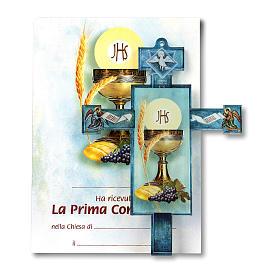 Croce Cresima tradizionale con diploma Simboli Eucaristici s1