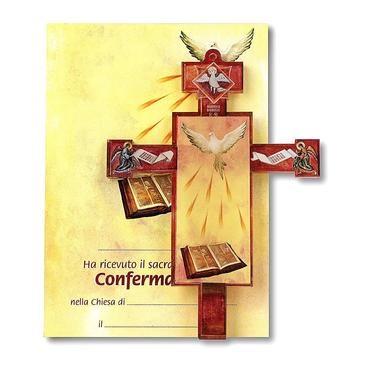 Croce Comunione tridimensionale con diploma Spirito Santo 3