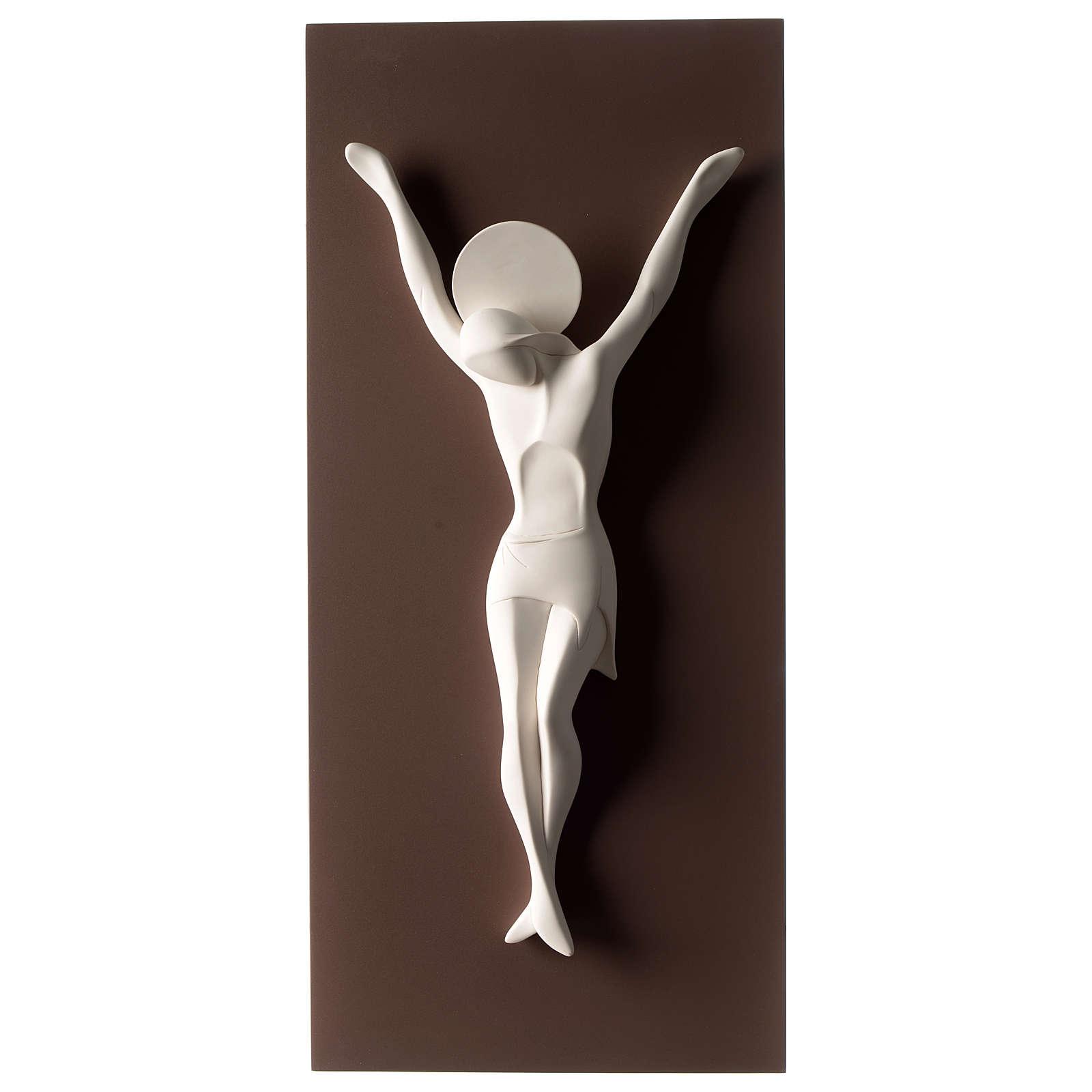 Crocefisso stilizzato bianco tortora resina e legno 55 cm 3