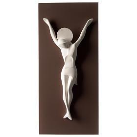 Crocefisso stilizzato bianco tortora resina e legno 55 cm s1
