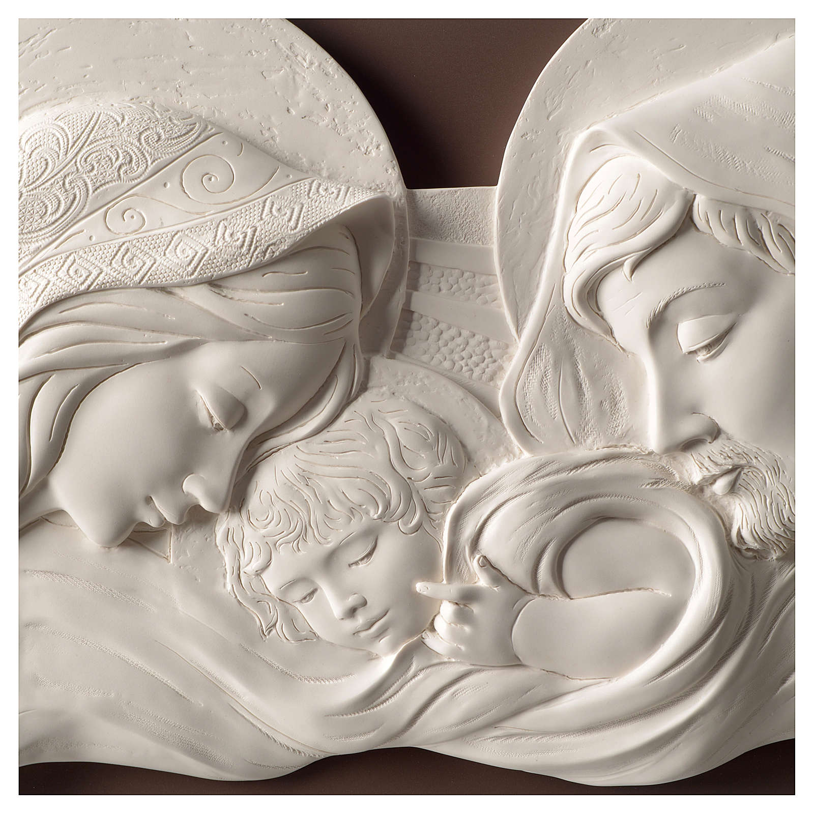 Cuadro Sagrada Familia blanco y gris ceniciento25x55 cm resina y madera 3
