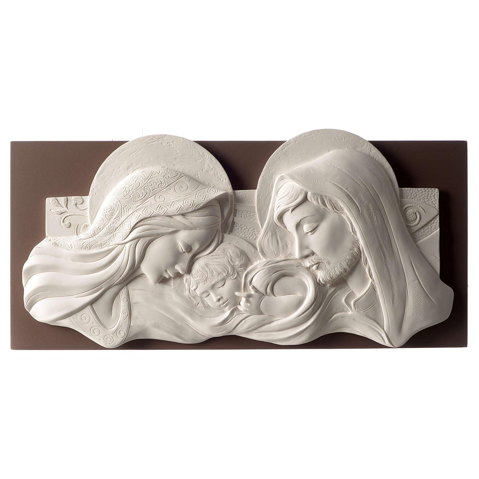 Cadre tête de lit Sainte Famille blanc et marron 25x55 cm résine et bois 3