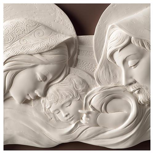 Cadre tête de lit Sainte Famille blanc et marron 25x55 cm résine et bois 2