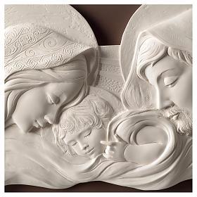 Capoletto Sacra Famiglia bianco e tortora 25x55 cm resina e legno s2