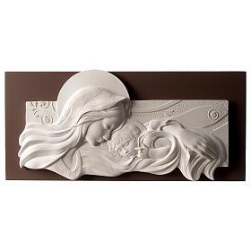 Cuadro Virgen y niño resina y madera 25x55 cm