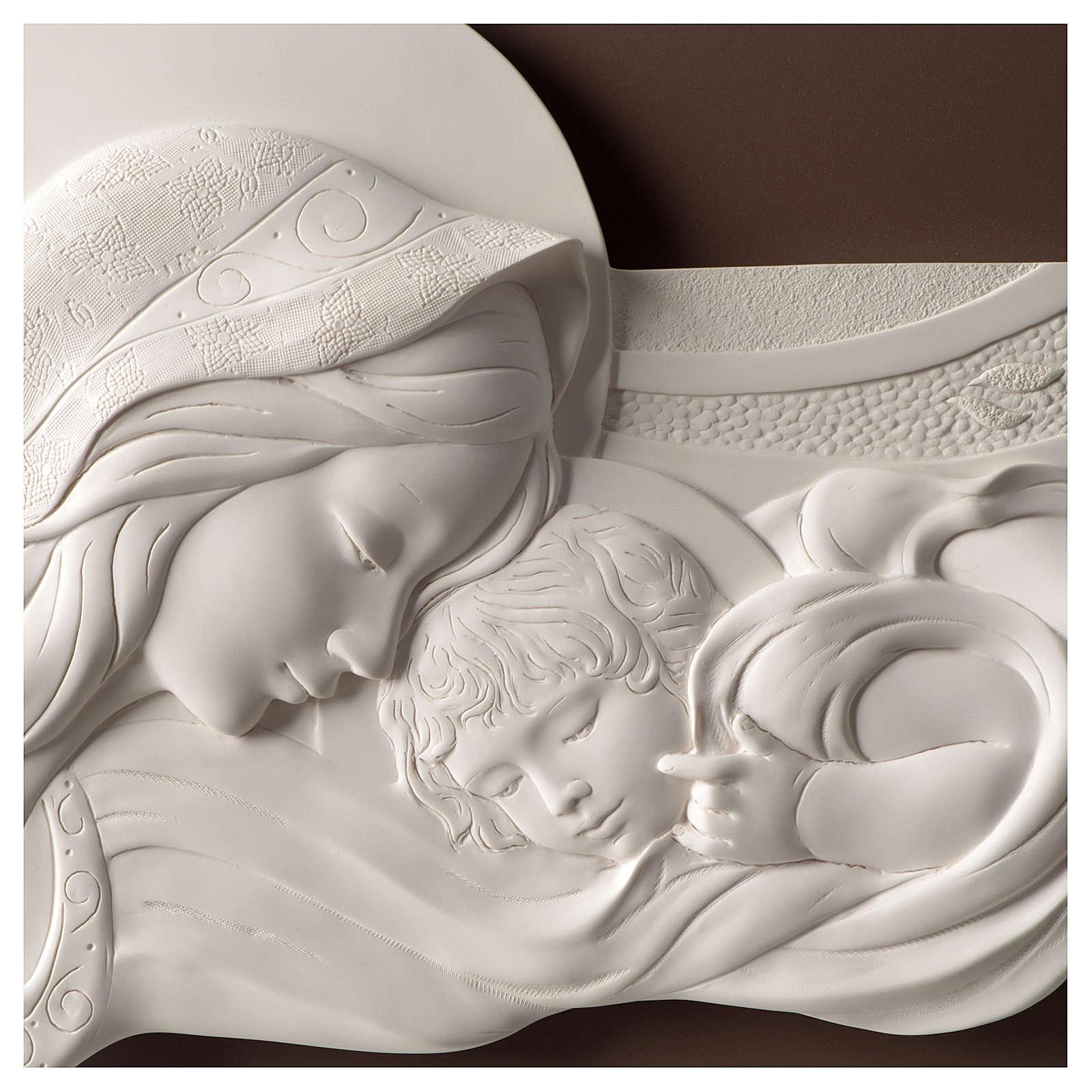 Quadro capoletto Madonna e bambino resina e legno 25x55 cm 3