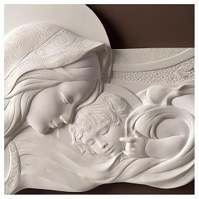 Quadro capoletto Madonna e bambino resina e legno 25x55 cm s2