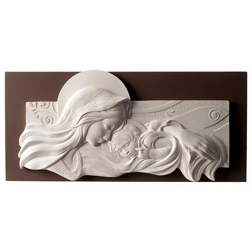 Quadro capoletto Madonna e bambino resina e legno 25x55 cm 1