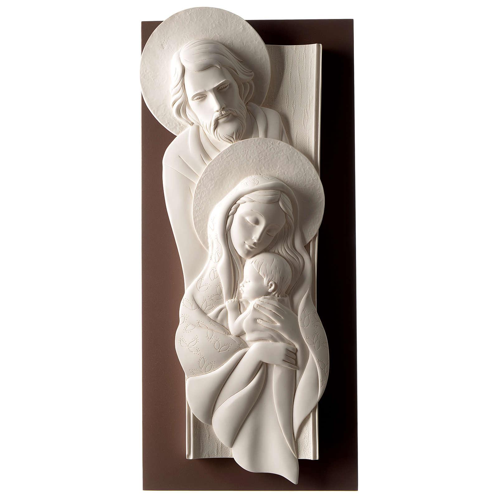 Quadro Sacra Famiglia verticale resina e legno 3
