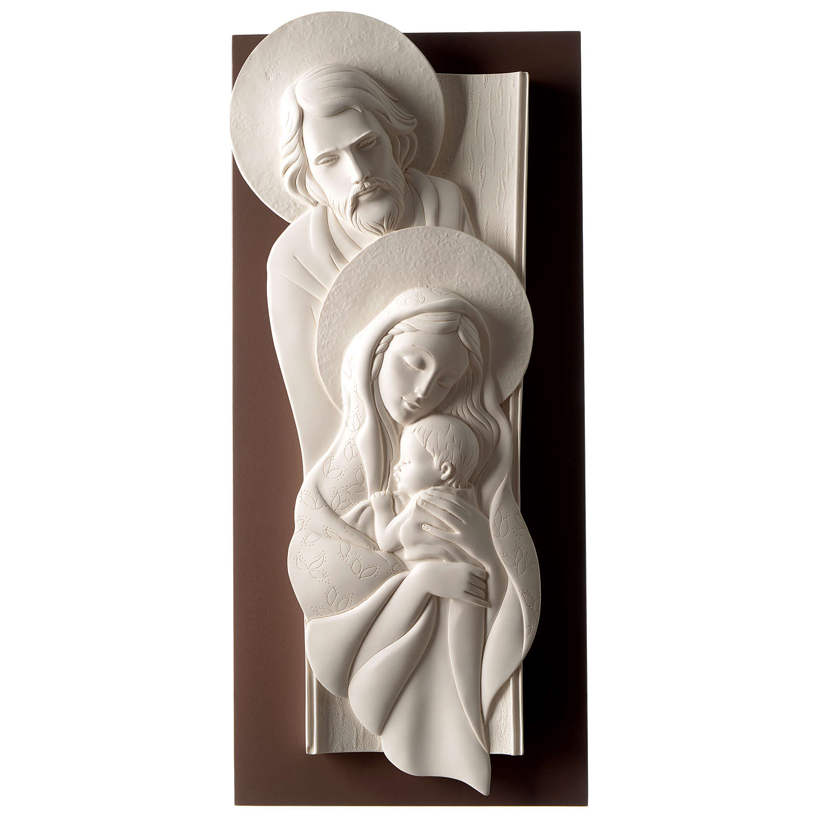 Holy Family, vertical bas-relief resin and wood 3