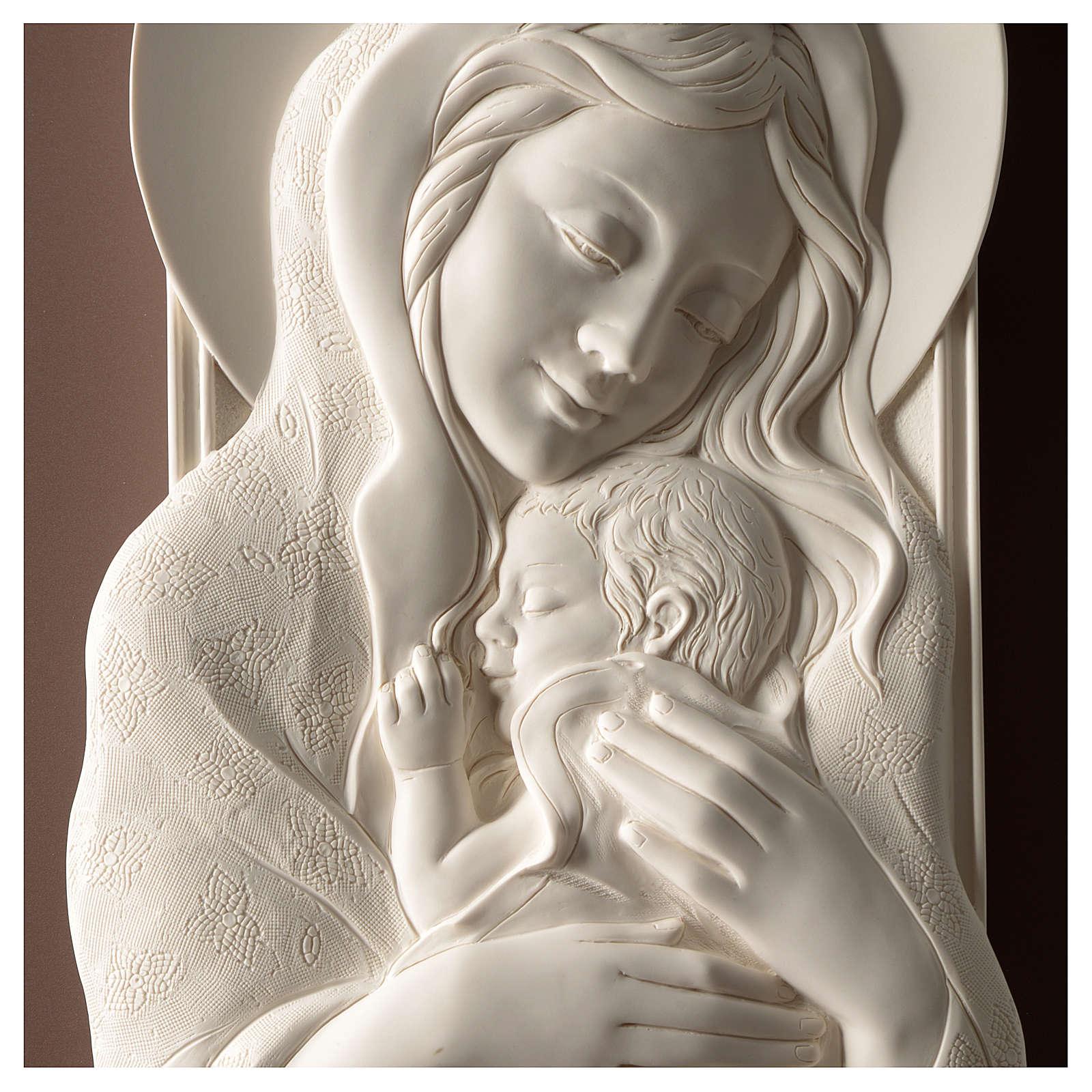Quadro Maternità verticale resina bianca e legno tortora 3