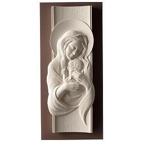 Quadro Maternità verticale resina bianca e legno tortora s1