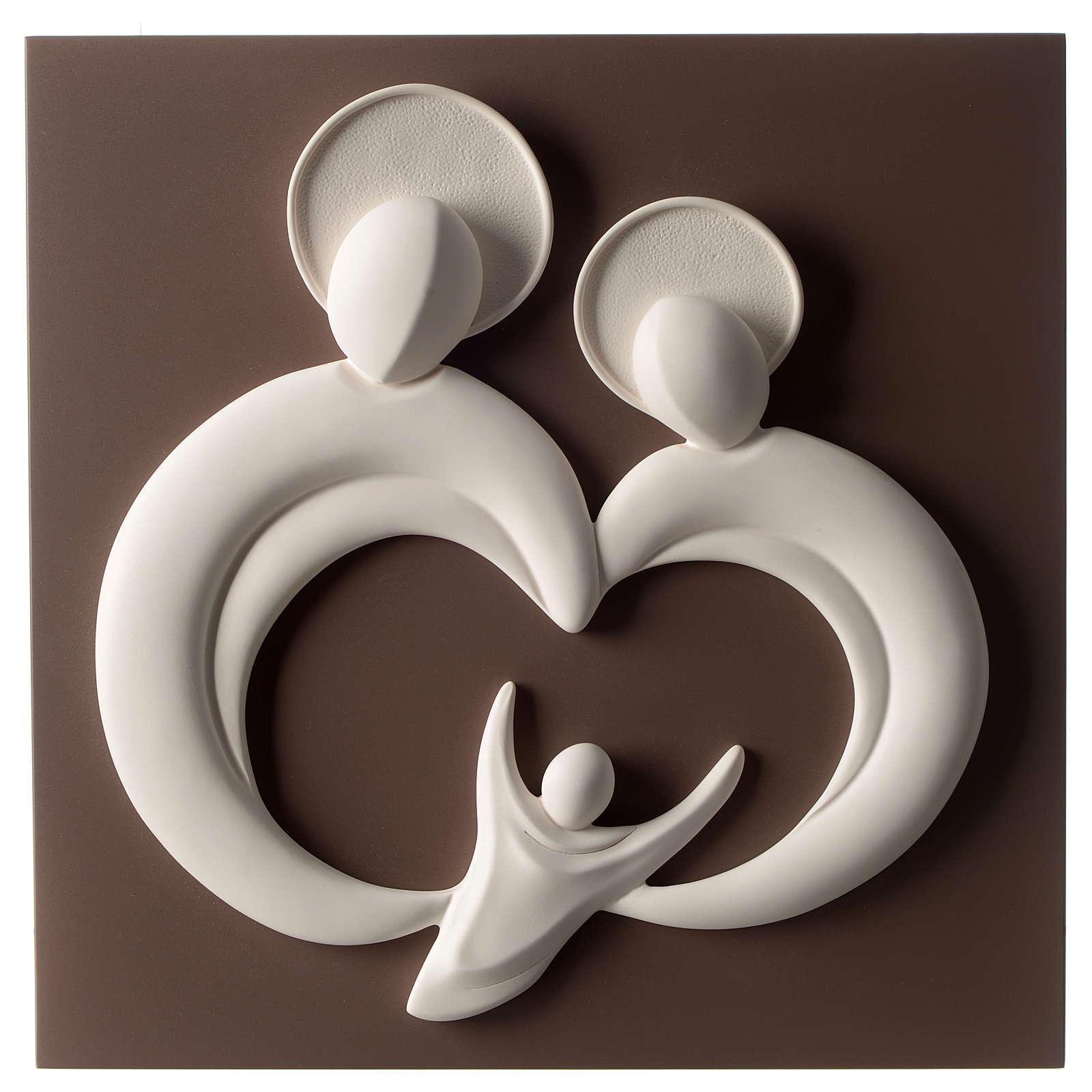Bassorilievo Sacra Famiglia stilizzata resina bianco e tortora 3