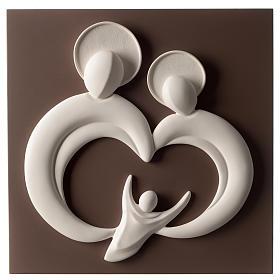 Bassorilievo Sacra Famiglia stilizzata resina bianco e tortora s1