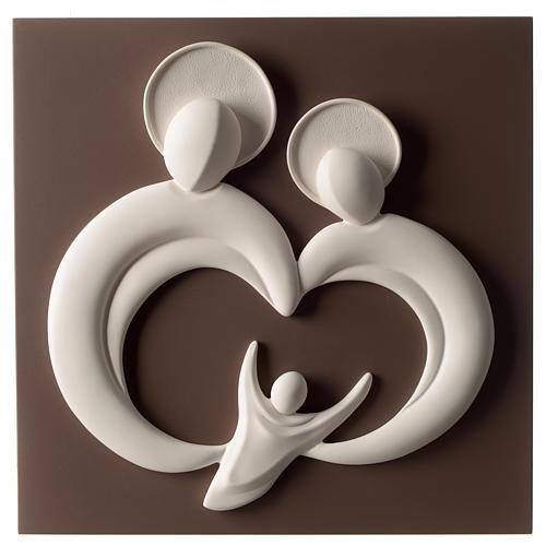 Bassorilievo Sacra Famiglia stilizzata resina bianco e tortora 1