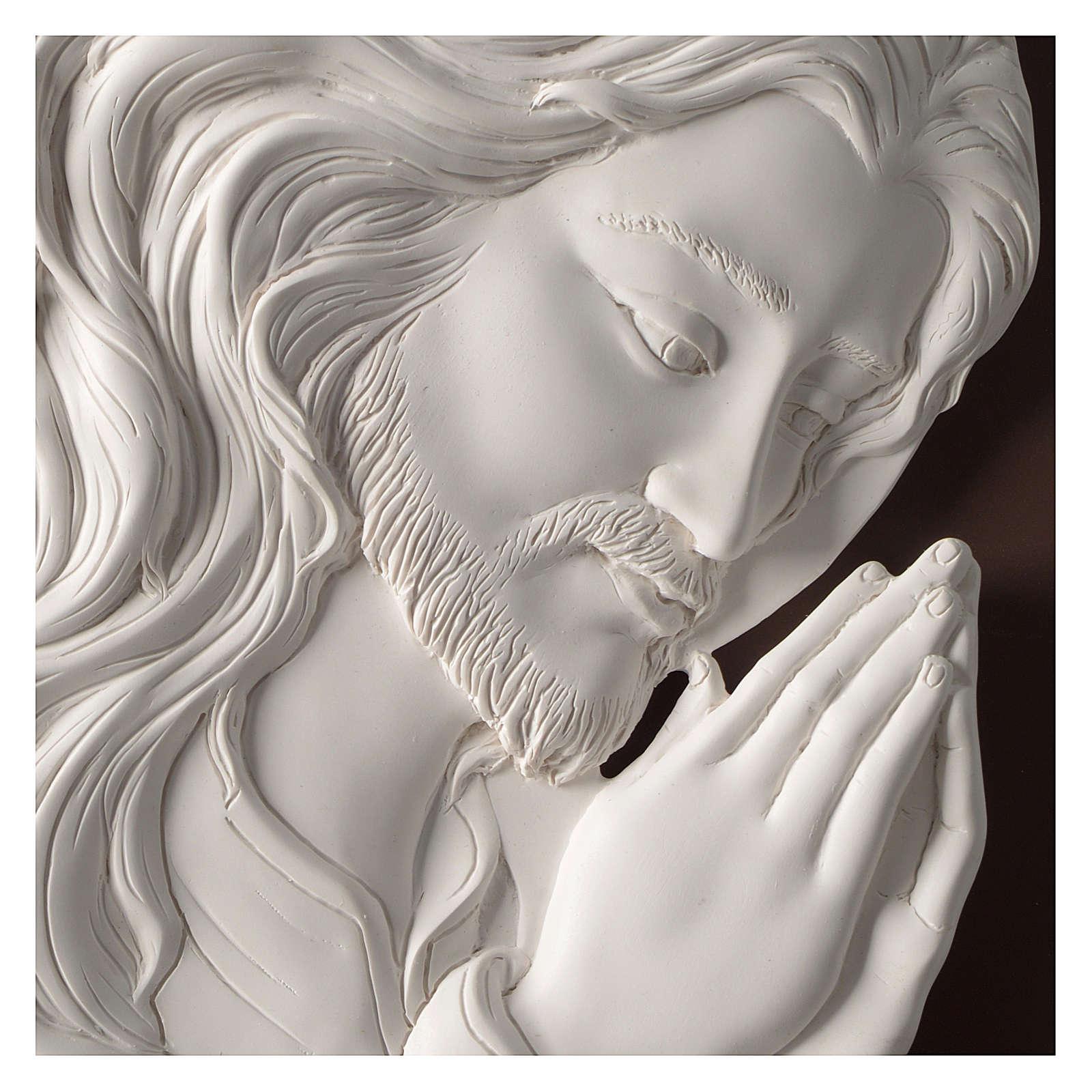 Quadro ovale Cristo in Preghiera resina e legno 3