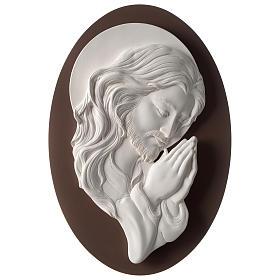 Quadro ovale Cristo in Preghiera resina e legno s1