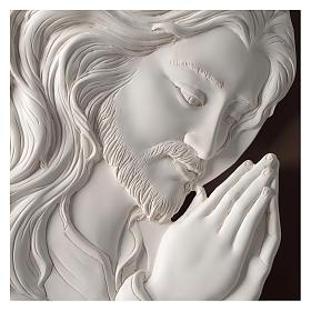 Quadro ovale Cristo in Preghiera resina e legno s2