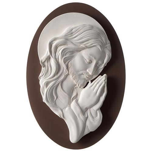 Quadro ovale Cristo in Preghiera resina e legno 1