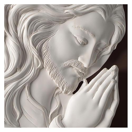 Quadro ovale Cristo in Preghiera resina e legno 2