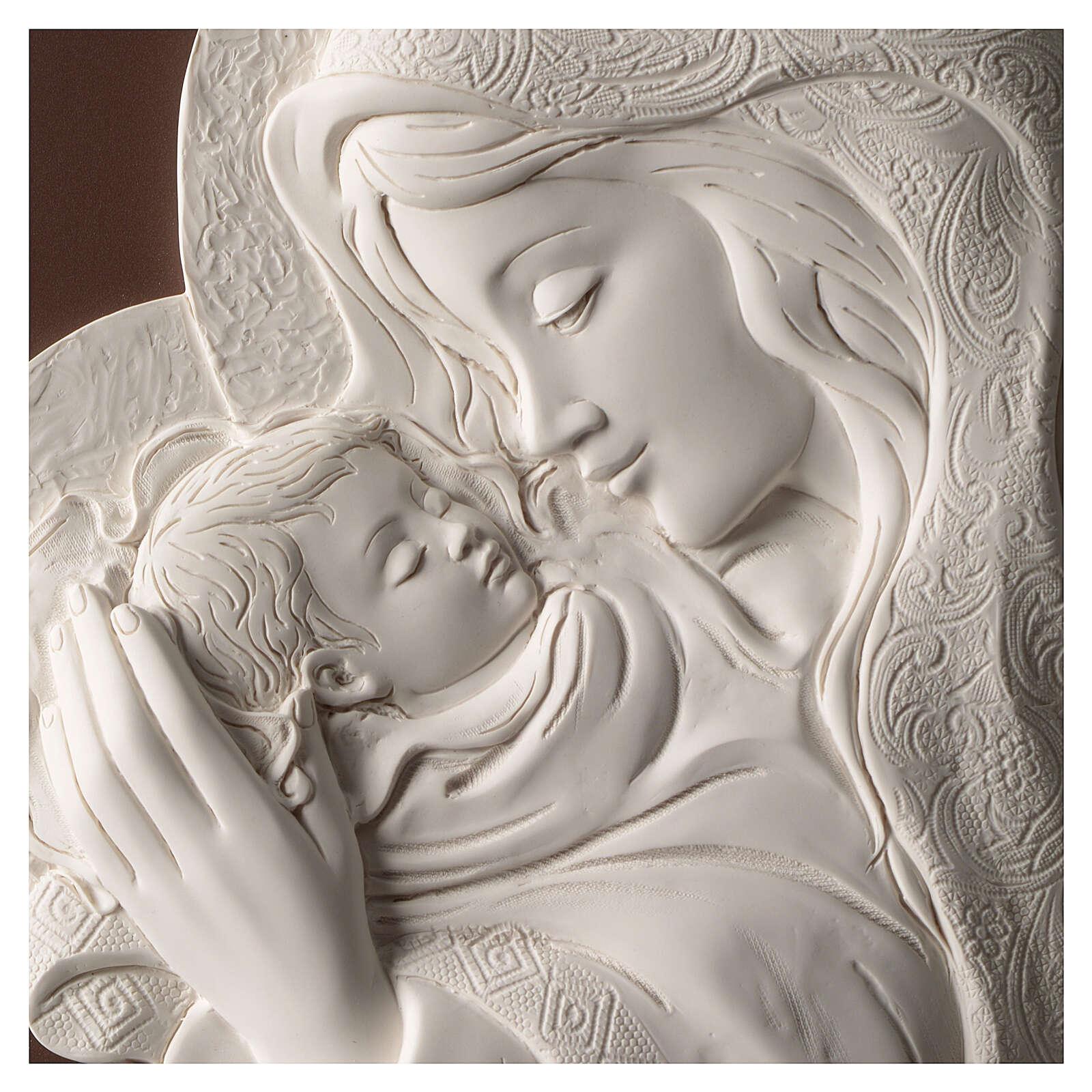Ovales Bild Madonna mit Kind aus Harz und Holz 3