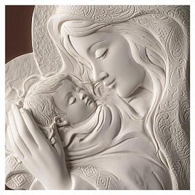 Ovales Bild Madonna mit Kind aus Harz und Holz s2