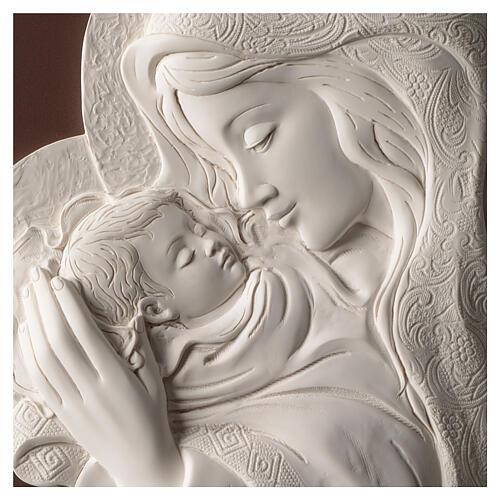 Ovales Bild Madonna mit Kind aus Harz und Holz 2