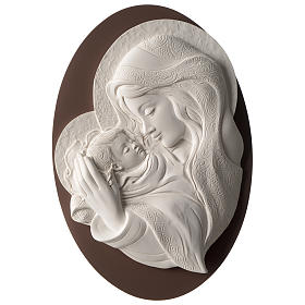 Cuadro ovalado Virgen con Niño resina y madera s1