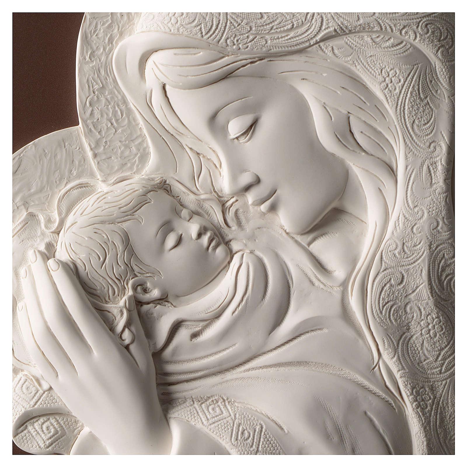 Quadro ovale Madonna con Bimbo resina e legno 3