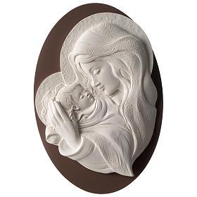 Quadro ovale Madonna con Bimbo resina e legno s1