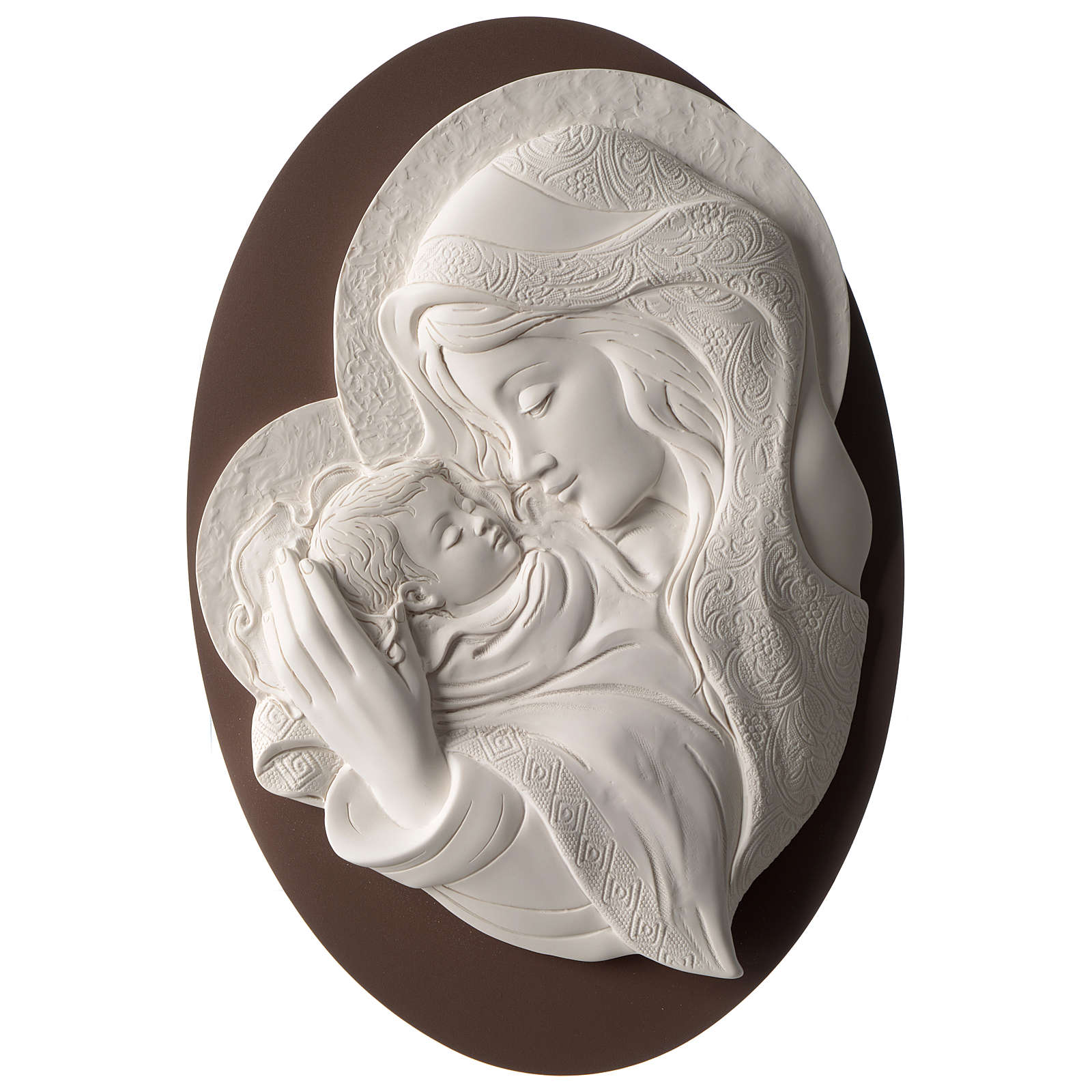Mary with Child, oval bas-relief in resin and wood 3