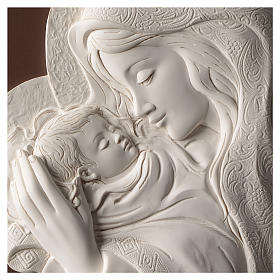 Mary with Child, oval bas-relief in resin and wood s2