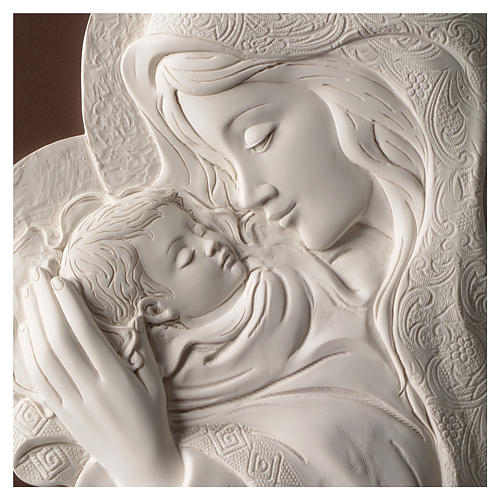 Mary with Child, oval bas-relief in resin and wood 2