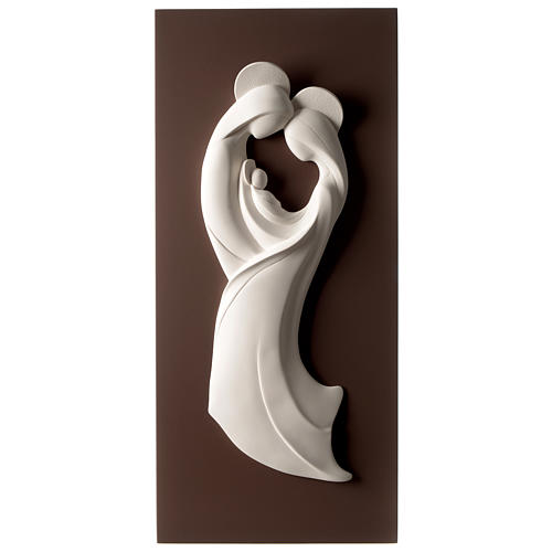 Cuadro S. Familia estilizada vertical bicolor resina y madera 1
