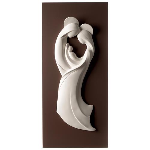 Quadro S. Famiglia stilizzata verticale bicolore resina e legno 1