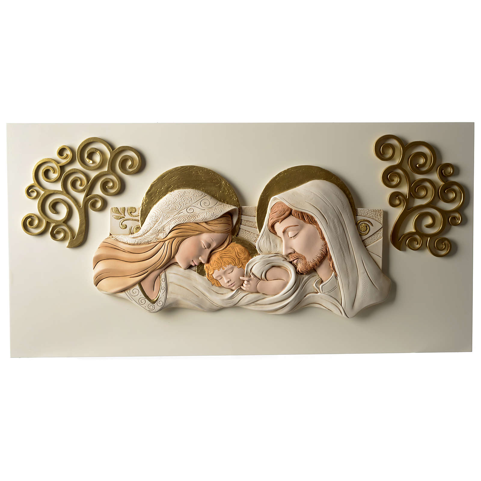 Holy Family, bas-relief in painted resin 40x80 cm 3