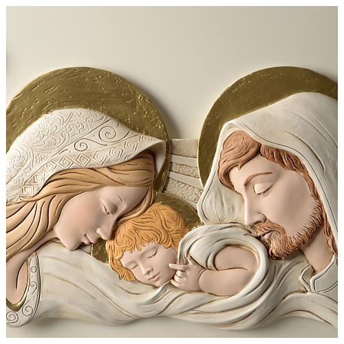 Holy Family, bas-relief in painted resin 40x80 cm 2
