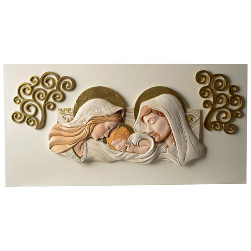 Holy Family, bas-relief in painted resin 40x80 cm 1