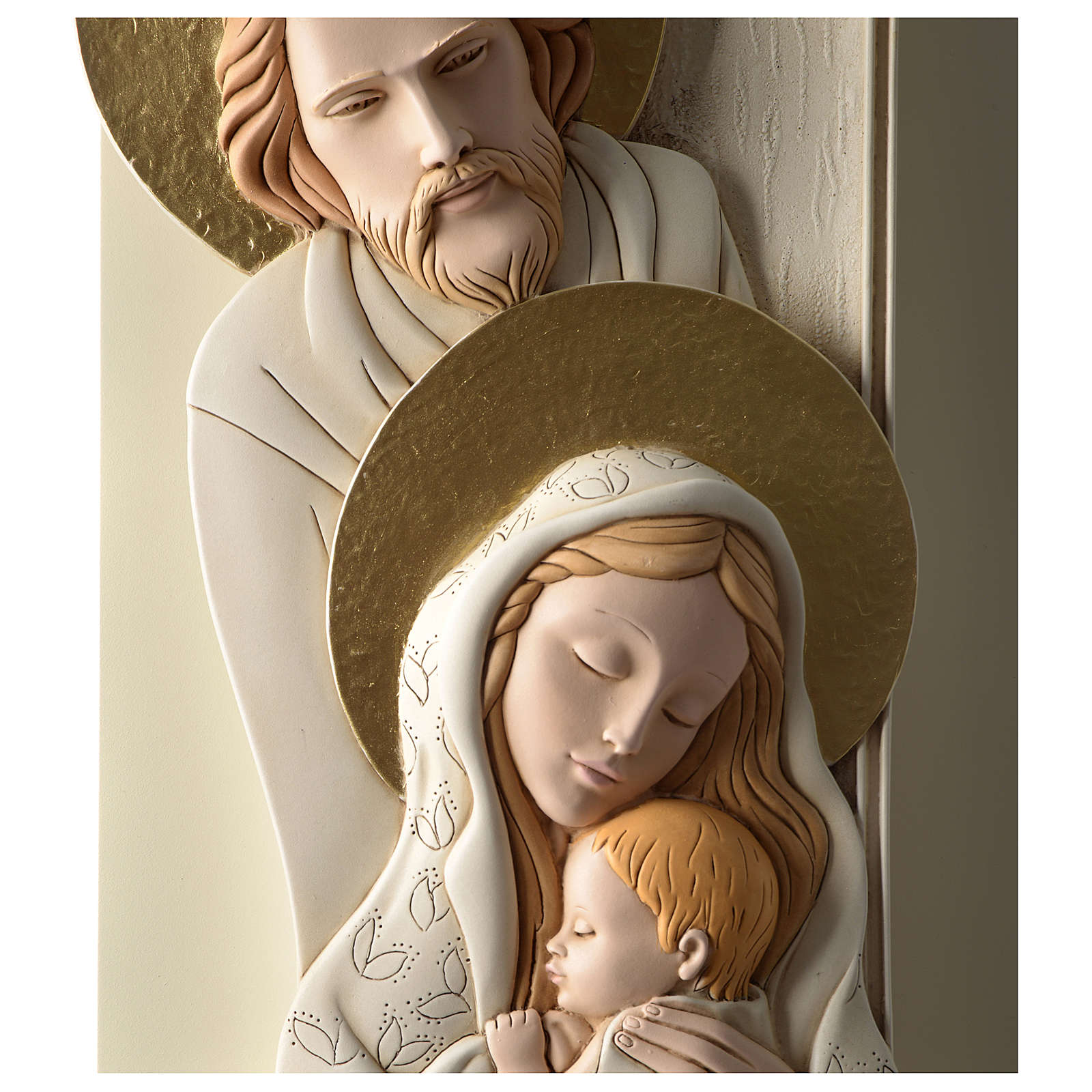 Holy Family, vertical bas-relief in painted resin and wood with golden details 3