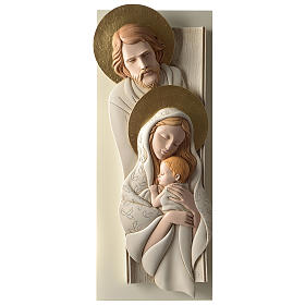 Holy Family, vertical bas-relief in painted resin and wood with golden details s1