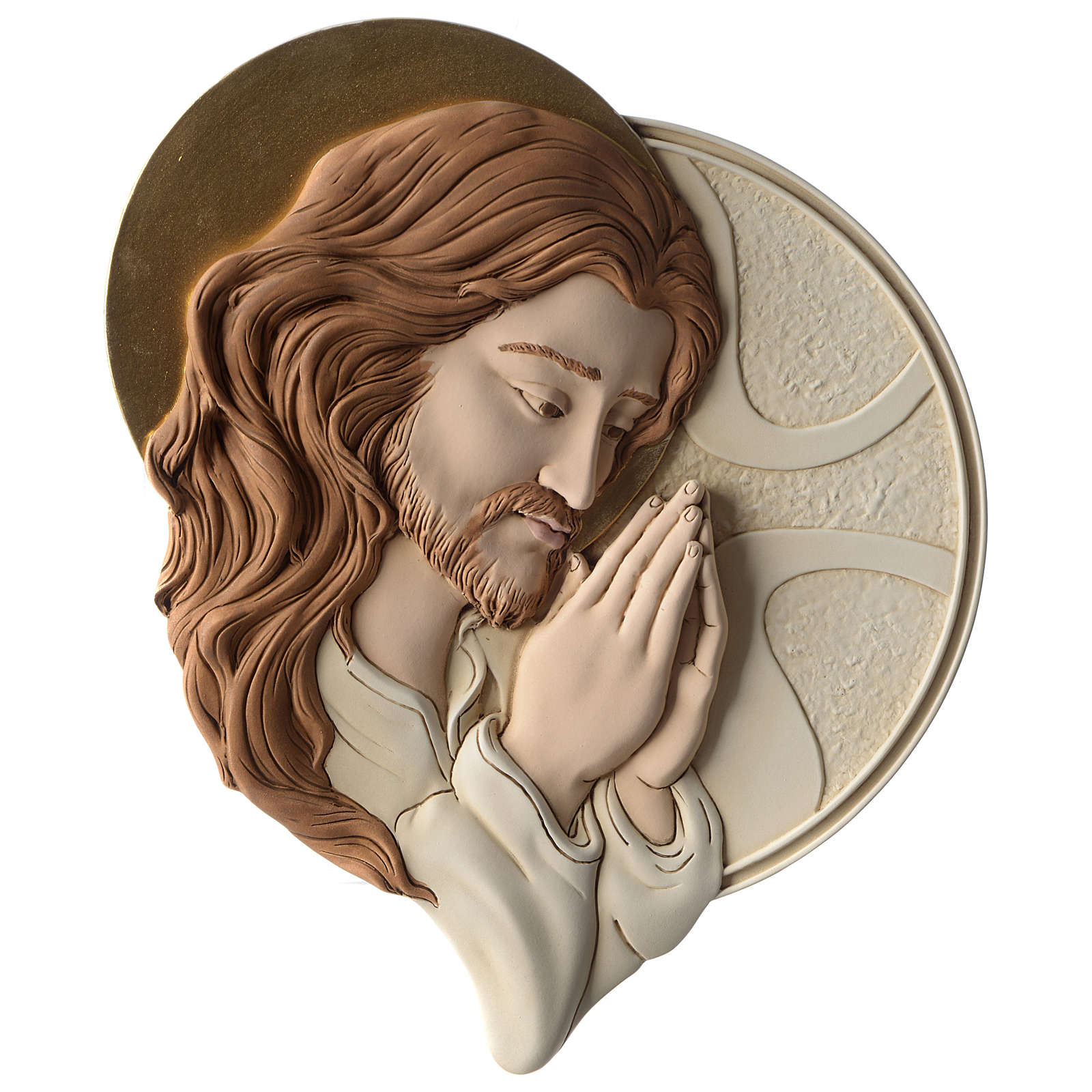 Bas-relief Face of Jesus in painted resin 3