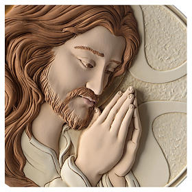 Bas-relief Face of Jesus in painted resin s2