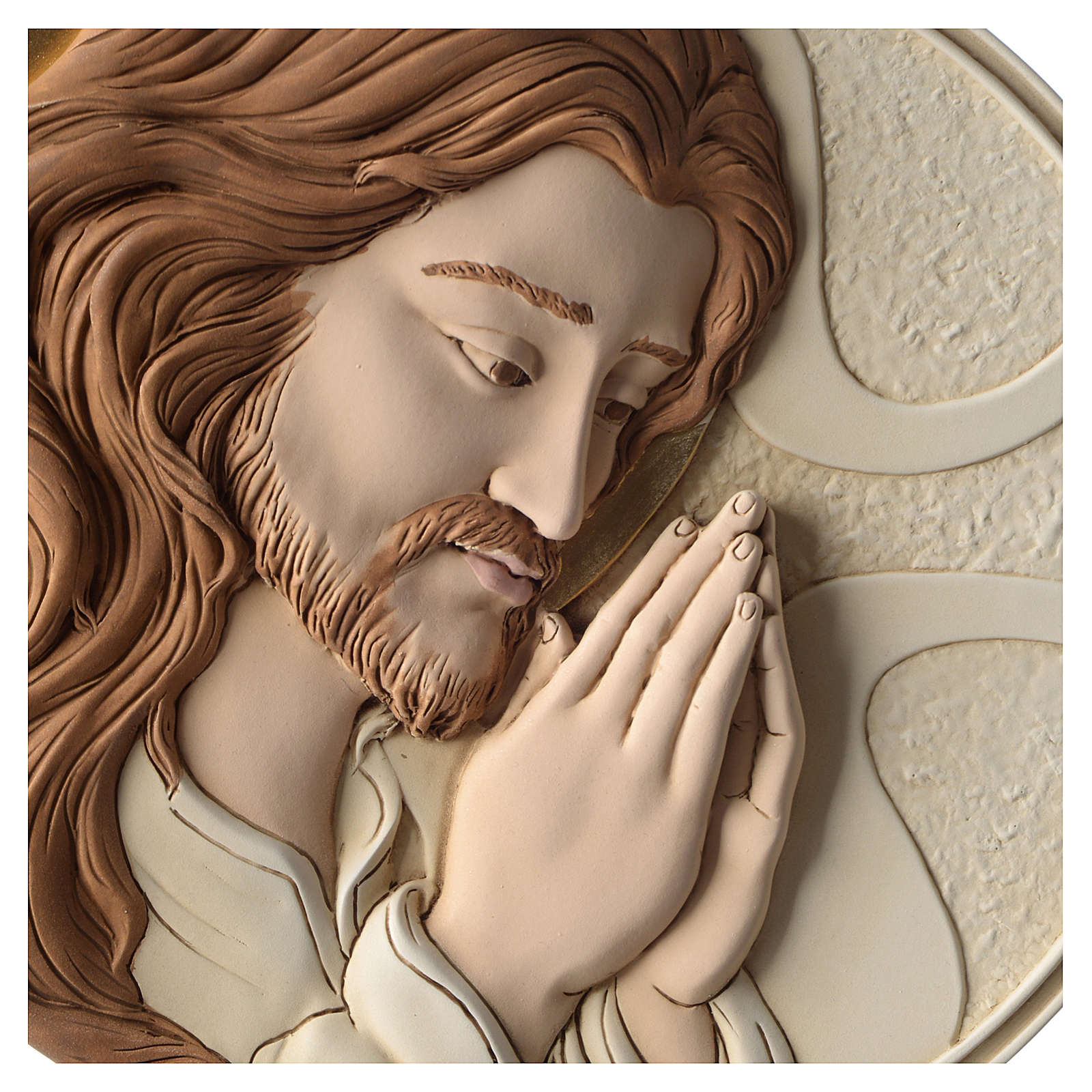Bajorrelieve Rostro de Cristo resina coloreada 3