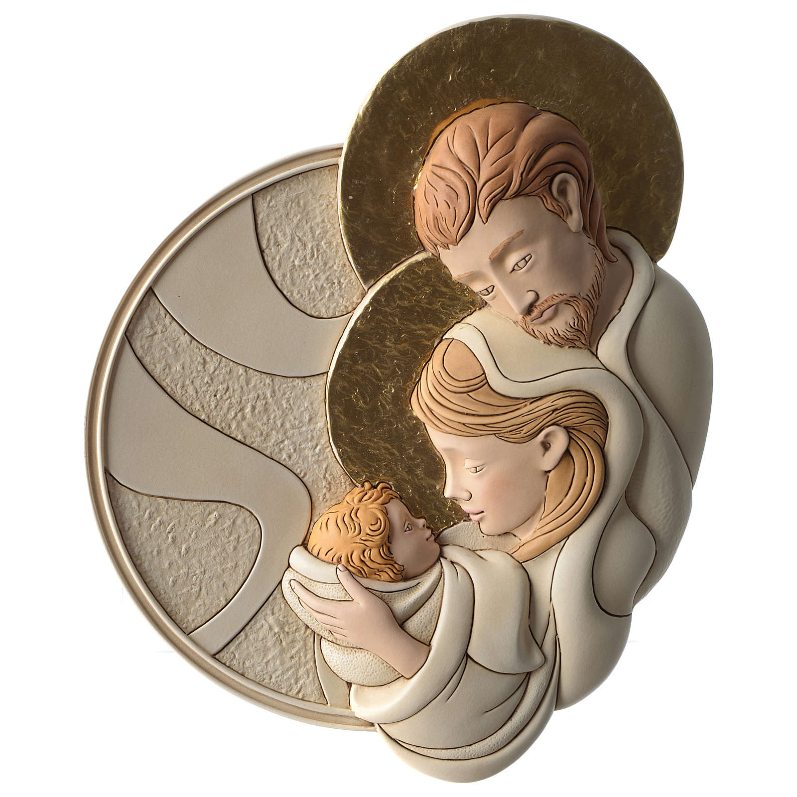 Bas-relief Holy Family in painted resin with golden details 3
