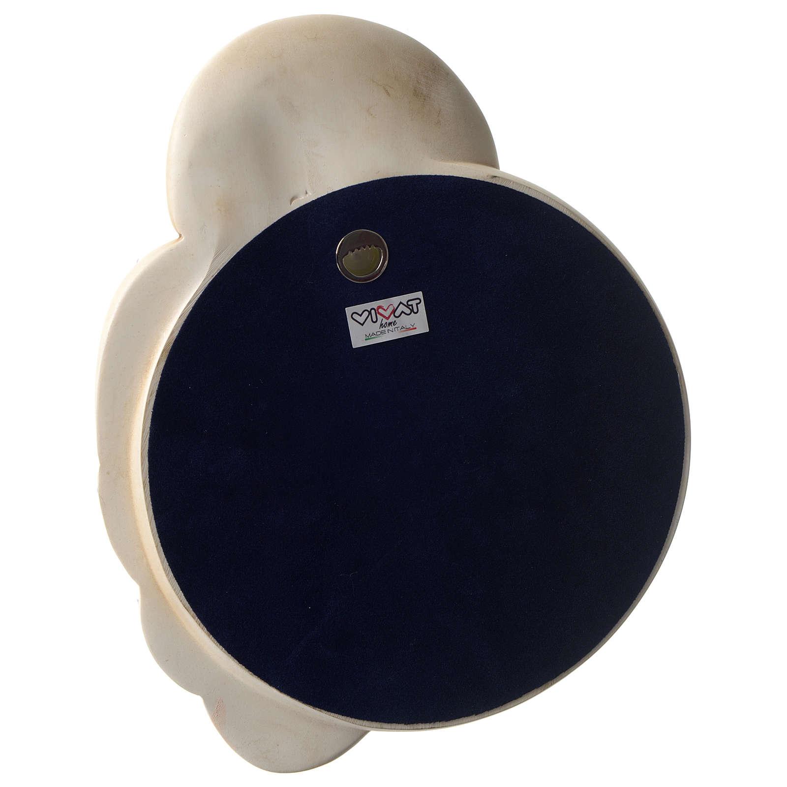 Bassorilievo tondo S. Famiglia resina colorata particolari dorati 3
