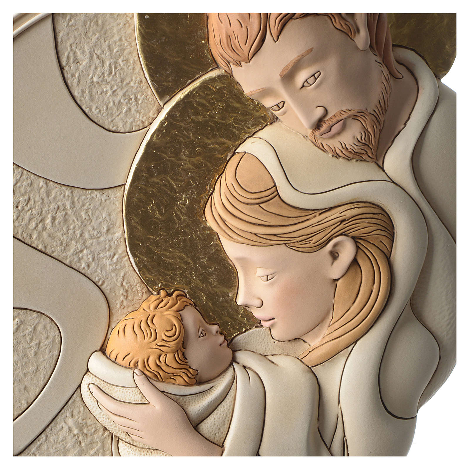 Holy Family round bas-relief in painted resin with golden details 3