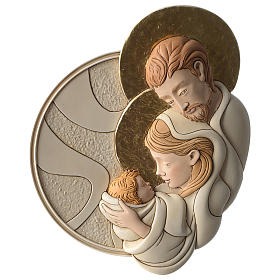 Holy Family round bas-relief in painted resin with golden details s1
