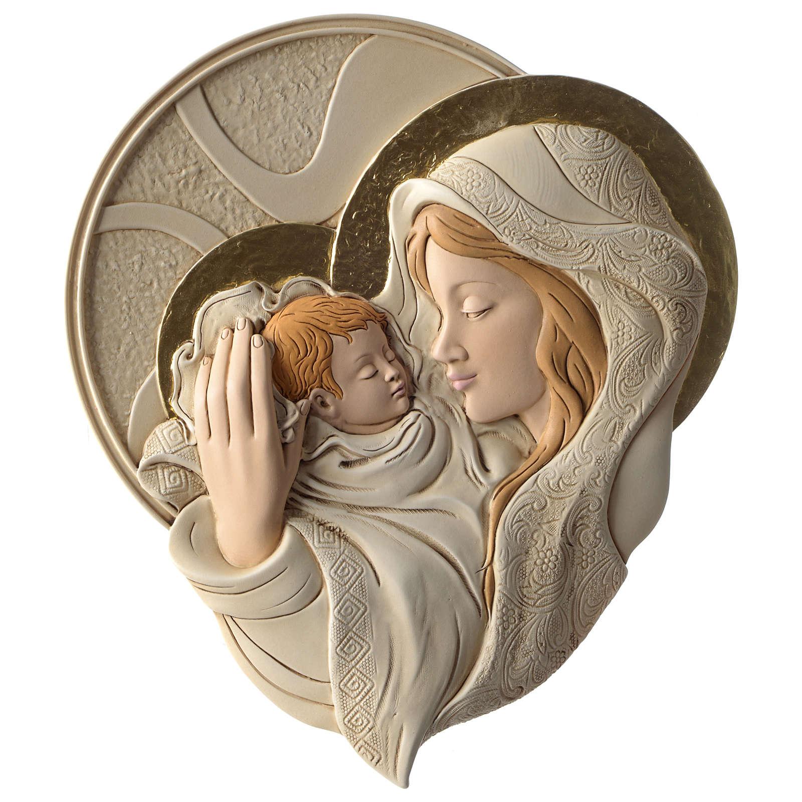 Płaskorzeźba okrągła Maryja i Dzieciątko żywica kolorowa 3