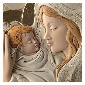 Płaskorzeźba okrągła Maryja i Dzieciątko żywica kolorowa s2